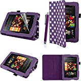 Executive PU Leather Amazon Kindle Fire HD 7 inch 2013 Case Cover Multi Function Standby Bi-Fold Stand with Built-in Magnet for Sleep / Wake Feature + Screen Protector + Capacitive Stylus Pen for New Kindle Fire HD 7-inch 2013 Tablet 16GB or 32GB - Purpl