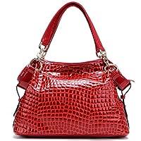 PASTE Women's Fashion Designer Split Leather Crocodile Grain Tote Cross Body Shoulder Bag Handbag Red