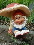 Gartenzwerg mit Buch unter Pilz Gartenfigur