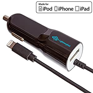 Apple Certified Lightning Car Charger - For iPhone 6S Plus 6 S 5S 5C 5 - Cable & USB Socket Rapidly Charges 2 Devices