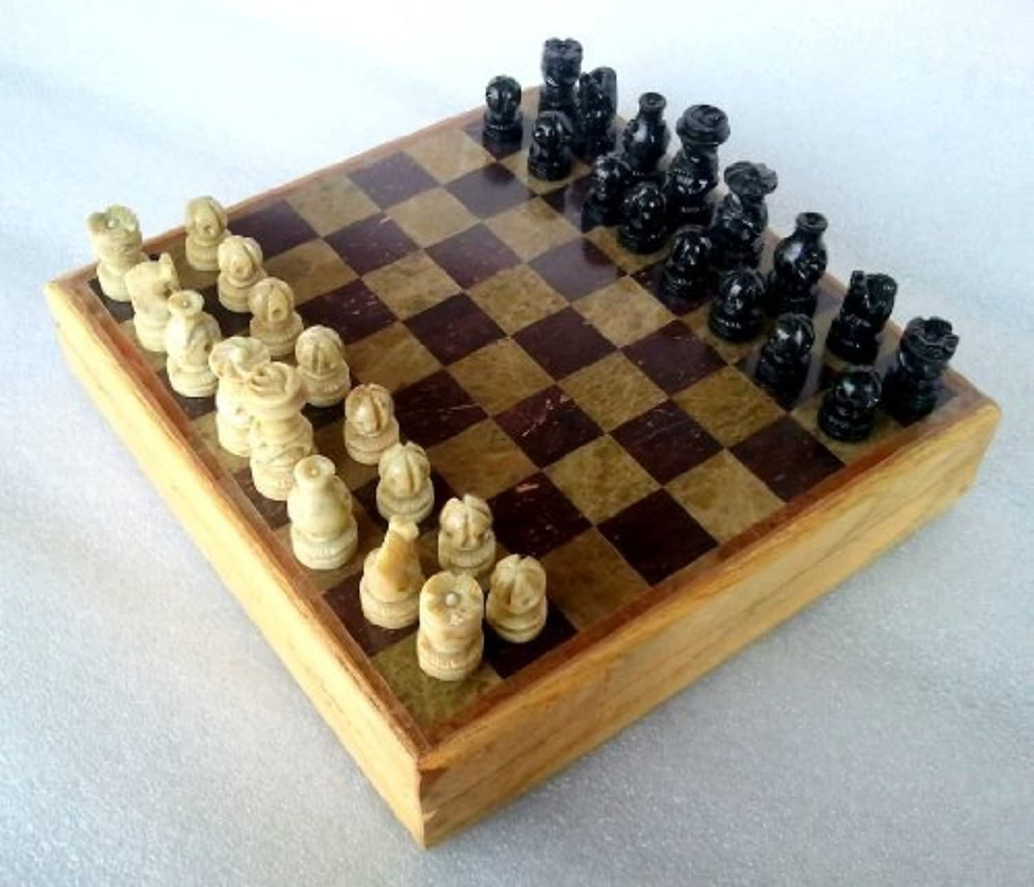 8x8 indian stone chess game board set hand crafted for Hand crafted chess set