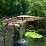 Grand 9 ft Cantilever Solar Powered Outdoor Patio Umbrella w/ 2 Year Fade Warranty