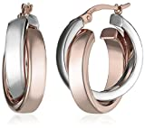 14k Gold Satin Polished Crossover Hoop Earrings