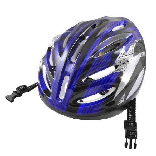 Como Adults Stripes Pattern Blue Gray Black Foam Sports Cycling Skating Helmet