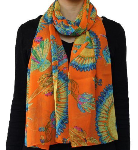Tribal Indian Eagle Feathered/Feather headdress Crown Pattern Chiffon Scarf Orange (Feathered Headdress)