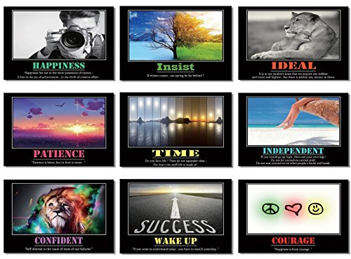 """9x Poster Motivational Quotes Celebrity Famous Sayings Motto Inspirational I Can Success Teamwork Maxim Sentence Words 20x13"""" (50x33cm) E350(1-9)"""