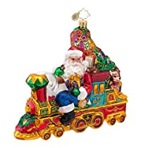 Christopher Radko Glass All Aboard for Christmas Santa Train Ornament #1016598