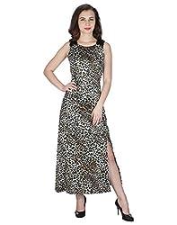 Miway Women's Print Poly Knit Sleeveless Leopard Maxi Dress (Brown, Medium)