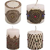 "Craftandcreations Combo Of Wax Henna Art Work Candles (Size: 1.5""x1.5"", 2""x2"", 3""x3"" And 3""x3.5"" , White)"