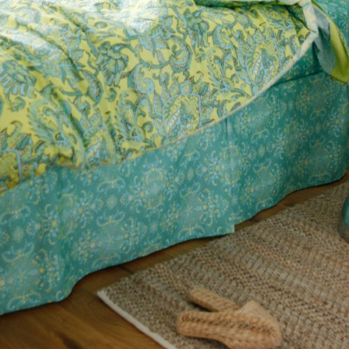 Amy Butler Dancing Garden Bed Skirt - Teal-Queen