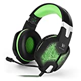 VersionTech 改良版 G1000 3.5mm ゲーミングヘッドセット ヘッドホン 高音質 ステレオ LEDライト マイク付き ゲーム用ヘッドフォン 騒音隔離&音量調節機能 PC/ラップトップなど対応 [グリーン]
