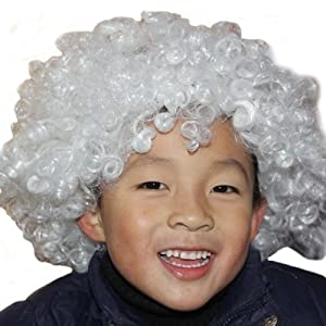 DAYISS® 12 Colors Mens Womens Party Disco Rainbow Afro Clown Wigs Football Fan Adult/Child Costume Curly Hair Free Shipping (White)