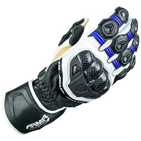 ARMR Moto S470 Motorcycle Gloves L Blue/White/Black