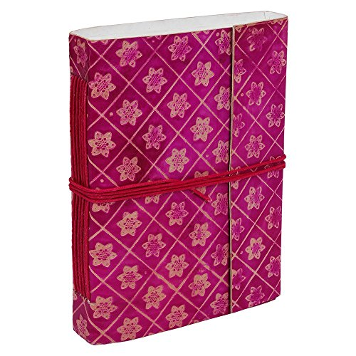 Store Indya Pink Blank Leather Bound Notebook Journal Diary Embossed 80 Sheets 160 Pages With Matching Cotton String