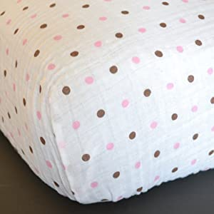 Pink & Brown Dots Muslin Crib Sheet - Organic Cotton
