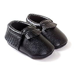LIVEBOX Infant Baby Moccasins Soft Sole Anti-Slip Tassels Prewalker Toddler Shoes (2: 6~12 months, Black)