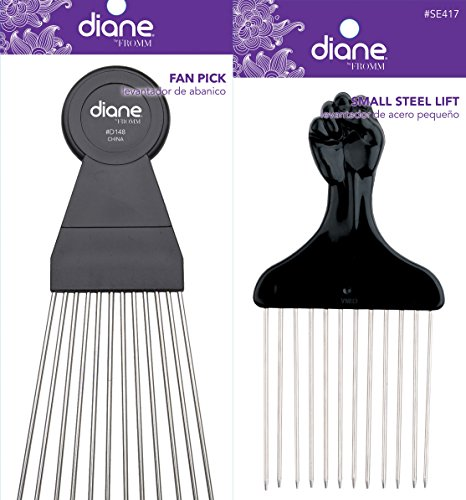 Diane Hair Fan Pick And Small Steel Lift Pick Combo (Large Fan Pick compare prices)