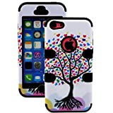 myLife (TM) Jet Black + Colorful Tree of Hearts 3 Layer (Hybrid Flex Gel) Grip Case for New Apple iPhone 5C Touch... by myLife Brand Products