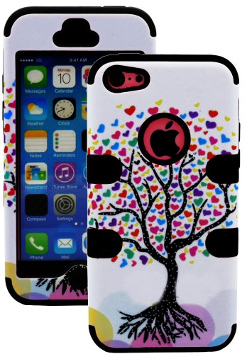 Mylife (Tm) Jet Black + Colorful Tree Of Hearts 3 Layer (Hybrid Flex Gel) Grip Case For New Apple Iphone 5C Touch Phone (External 2 Piece Full Body Defender Armor Rubberized Shell + Internal Gel Fit Silicone Flex Protector + Lifetime Waranty + Sealed Insi