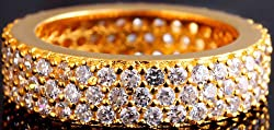 Exotic India CZ Gold Plated Ring - Sterling Silver Ring Size 7.5