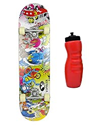 YONKER Wooden Skateboard with Aluminium Alloy Trucks Synthetic Wheels with Bearings for Kids Senior Size Skateboard ( 80x20 cm) Printing on Both Sides With Plastic Sipper (Assorted Color)