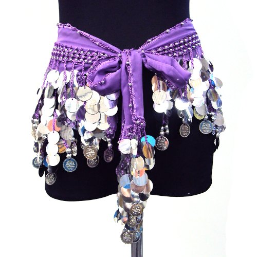 Belly Dance Silk Chiffon Sequin Disks Hip Scarf Belt Coin Wrap-- PURPLE & SILVER