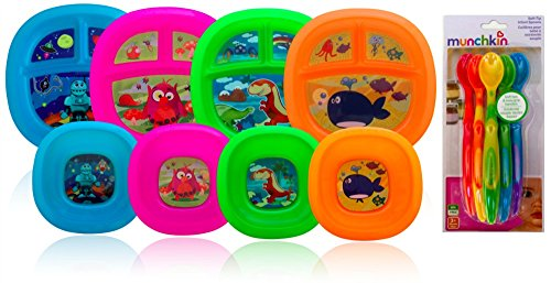 Munchkin Toddler Plate and Bowl Set (4 sets, one in each color) with Munchkin 6 Pack Soft-Tip Infant Spoons - 1