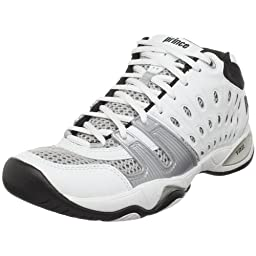 Prince Men\'s T22 Mid Tennis Shoe,White/Black/Silver,10 M US