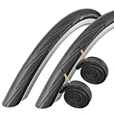 2x Schwalbe Lugano 700c x 28 Road Racing Bike Tyres & Presta Tubes - Black