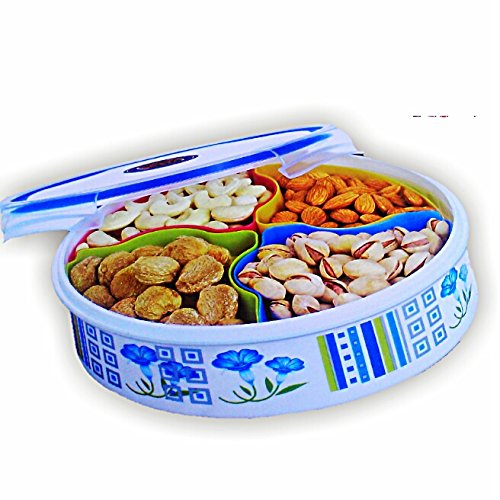 JP lock & Fit classics floral round Dry Fruit Tray - Multi Purpose Container To Store Dry Fruits, Namkeen, Biscuits, Choclates & Snacks  available at amazon for Rs.279
