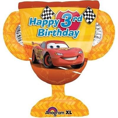 "Disney Cars Happy 3rd Birthday 26"" mylar foil Balloon Trophy Party Supplies Boy"
