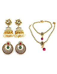 9blings Traditional Wear Pearl Cz Ruby Emerald Multi-colour Anklet Gold Plated Earrings Combo Set N65