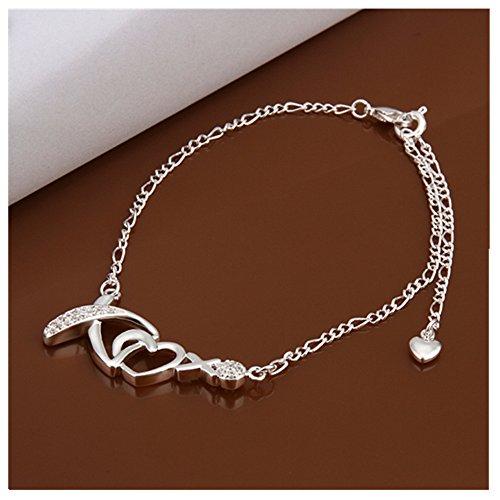 NYKKOLA 925 Silver Austrian Crystal Heart Beautiful Classic Jewelry Ankle Bracelet