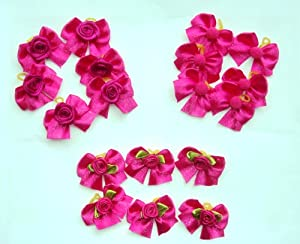 30 Dog Hair Bows - Hot Pink Satin Bows with Flower/Rose/Pom - Groomer's Choice Handmade