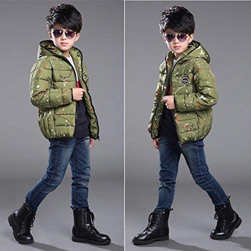 General Kinder Winter Mode koreanischen junge Kinder plantschen Kinder aus Baumwolle gesteppte Jacke Mantel grün (150)