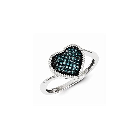Sterling Silver Blue Diamond Heart Ring