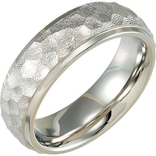 Titanium Hammered Domed Comfort Fit Band, Size 12