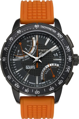 Timex Intelligent Quartz Men's Sport Flyback Chronograph Watch with Black Dial Chronograph Display and Orange Silicone - T2N707