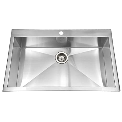 Houzer BLS-3322 Bellus Series Zero Radius Topmount Stainless Steel 1-Hole Large Single Kitchen Sink
