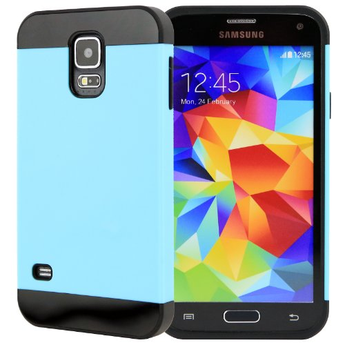 Celljoy [Vivid Hybrid] Tpu 2Pc Layered Hard Case Rubber Bumper For Samsung Galaxy S5 Sv (At&T / Verizon / Us Cellular / Sprint / T-Mobile / Unlocked) [Celljoy Retail Packaging] (Teal / Black)