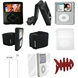 Aiboco 8 Item Accessories kit for iPod Classic Leather Flip Case+ Armband +Silicone Case+ Clear Hard Case+ Charging Cable+ Screen Protector 160GB 120GB 80GB 30GB (Color: Clear)