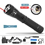Tactical Rechargeable Flashlight With Laser!Laser and Flashlight combo!Flashlight With Laser Pointer Cree Led Police!Battery 4200mAh Magazine for 3 AAA Batteries Included Car Charger Mount for Weapons
