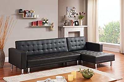 ORLANDO Designer Deluxe Large Black Faux Leather Corner Sofa Bed 3/4 Seater NEW