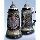 German Black Beer Stein .5L Pewter Eagle Crest One New Mug Made in Germany