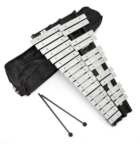 ts-ideen 6045 Chromatic Glockenspiel Xylophone (30 Metal Notes Bars in Padded Case with 2 Beaters)