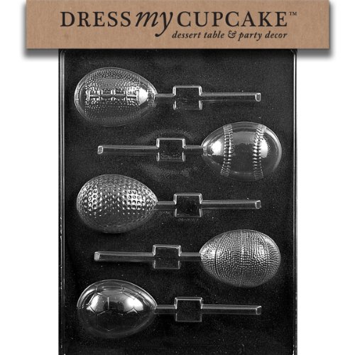 Dress My Cupcake Dmce469Set Chocolate Candy Mold, Sports Themed Eggs Lollipop, Set Of 6 front-209698