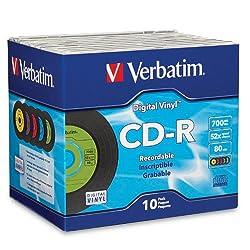 Verbatim 700 MB 52x 80 Minute Digital Vinyl Recordable Disc CD-R, 10-Disc Jewel Case 94439