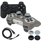 BlueLoong PS3 Controller Wireless Double Shock Black and Silver 2 Pack