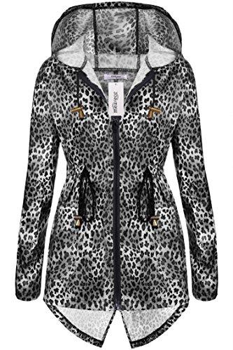 Meaneor Damen Leopard Muster Regenjacke Regenmantel Atmungsaktiv mit Verstellbarer Taille Front-Reißverschluss Kapuze