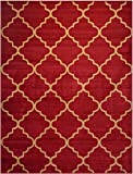 "Conur Collection Trellis Contemporary Modern Design Area Rug Rugs (More Color Options Available) (Dark Red (Bordeaux), 5'3""x6'11"")"